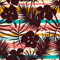 Abstract seamless pattern with tropical plants