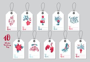 Collection Merry Christmas vector gift tags