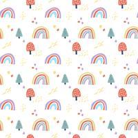 Vector escandinavo de patrones sin fisuras nubes, lluvia, sol y arco iris.
