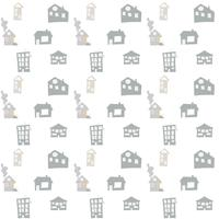 Scandinavian vector seamless pattern with hand drawn doodle houses