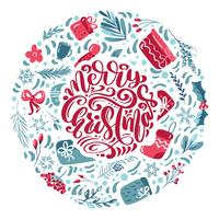 Merry Christmas calligraphic lettering hand written vector text