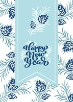 Happy New Year calligraphic lettering hand written vector text
