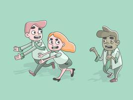 zombie worker following running employees business halloween illustration vector