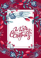Merry Christmas calligraphic lettering hand written vector