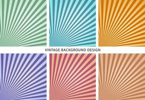 vintage sun burst background set template