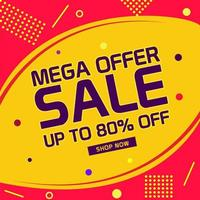 Mega offer sale design with abstract background