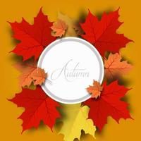 Autumn circle frame with leaves