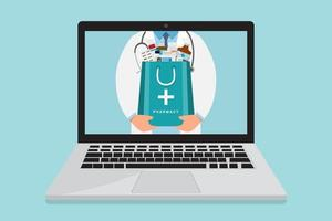 Online pharmacy doctor with medicine bag inside laptop