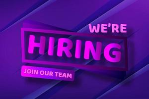 Purple We're Hiring Icon Button