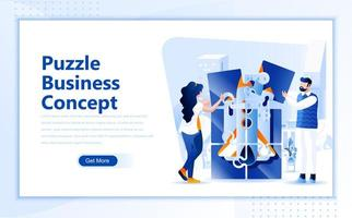 Puzzle business concept flat web page design