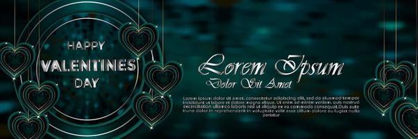 Banner feliz día de San Valentín verde con decoración de San Valentín