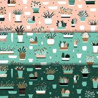 Flowerpot pink and teal seamless pattern