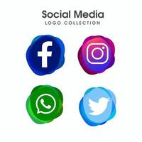 Social media minimale icon set collectie