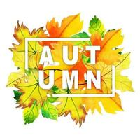 Watercolor Autumn Typography with Leaves Frame