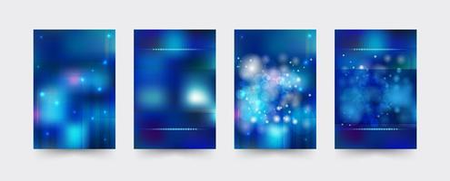 Blue Brochure cover template set vector
