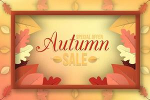 Autumn sale banner with fall leaves frame