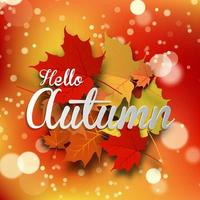 Hello autumn message with fall leaves background