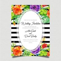 Floral Black Stripe Invitation Card