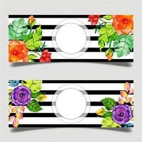 Plantilla de banner de rayas negras florales vector