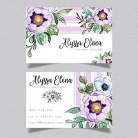 Purple Floral Visiting Card