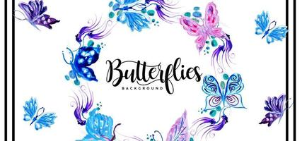 Beautiful Watercolor Butterflies Background
