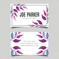 Watercolor Leaves Business Card