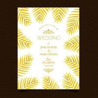 Invitación de boda de hojas doradas vector
