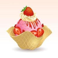 Strawberry ice cream with waffle basket