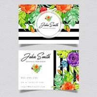 Floral Black Stripe Business Card