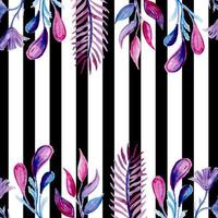 Watercolor Black Stripe Leaves Background vector