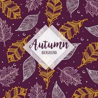 Beautiful Autumn Colorful Hand Drawn Leaves Background