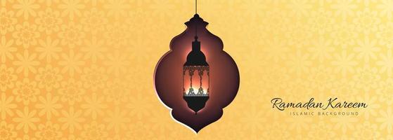 Modèle de bannière Festival jaune islamique