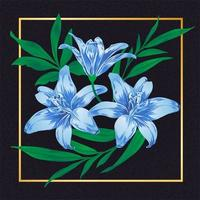 Blue Flower Vintage Vector Leaf Nature