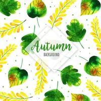 Groene en gele aquarel herfstbladeren achtergrond