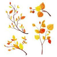 Coleção bonita de folhas de outono em aquarela