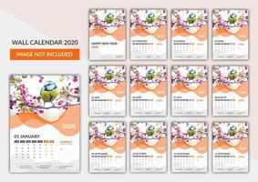 Free wall calendar template 2020 vector