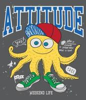 Hand drawn cool octopus for t shirt printing