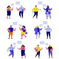 Uppsättning av platta människor som talar med textbubblor