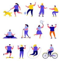Set of flat people playing sports and being active