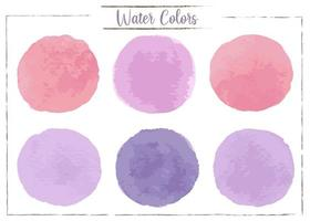 Red, pink, purple, dark purple watercolor spots on a white background. vector
