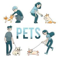 4 people with pet dogs cute illustration vector