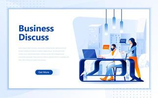 Business discussion flat  web landing page template
