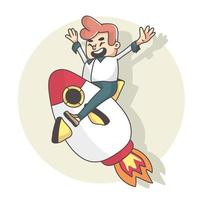man happy flying with rocket