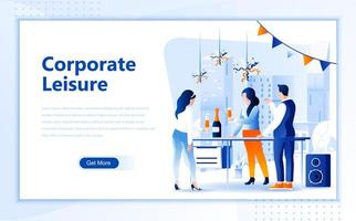 Corporate leisure flat  web landing page template