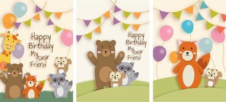Conjunto de cartões de aniversário animal