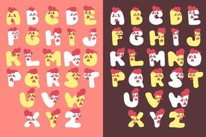 lindo conjunto de fuente de alfabeto de pollo vector