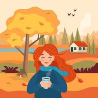 Autumn girl with coffee cup, landscape rural view with yellow tree