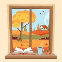 Herbstfenster mit ländlicher Ansicht, einem Buch und einer Kaffeetasse