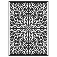 Illustration of carved wood effect floral drawing vector