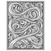 Carved wood effect twisting leaf pattern vector